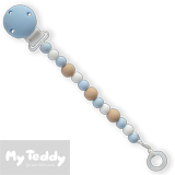 My Teddy, attache tétine, silicone, bleu/ perles