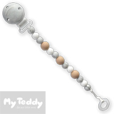 My Teddy, attache tétine, silicone, gris marbre